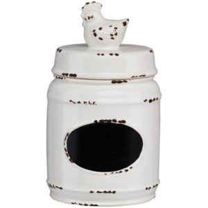 Modern farmhouse kitchen decor - canisters, utensils storage - rooster on lid jar