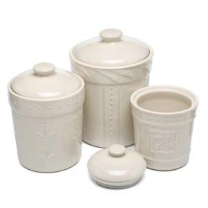Modern farmhouse kitchen decor - canisters, utensils storage
