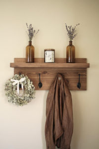 Rustic Wooden Entryway Coat Rack with 4 hooks and shelf