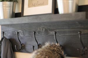 Rustic Wooden Entryway Coat Rack with shelf