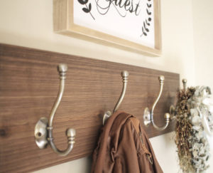 Simple rustic Coat Rack with 4 hooks