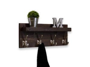 Rustic decor floating shelf coat rack 4 hooks small ledge