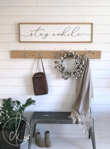 stay awhile rustic farmhouse sign