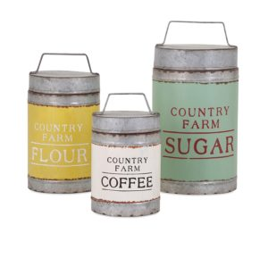 Handcrafted Set of Three Decorative Canisters with Vintage Inspired Labels