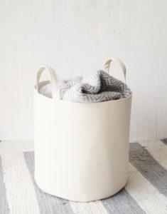 Canvas storage basket off-white