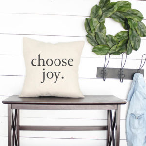 Choose Joy farmhouse style fixer upper decor pillow - by Melissa