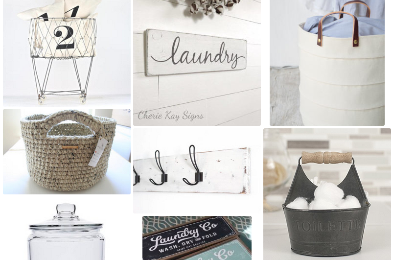 Farmhouse Decor Laundry Room Baskets, Bins and Wall Art