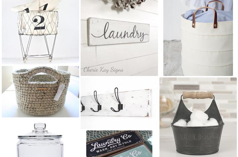 Farmhouse Decor Laundry Room Baskets, Bins and Wall Art