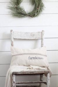 Farmhouse Grain Sack Pillow, Tan Stripes - by Lisa