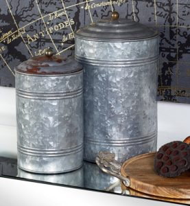 Farmhouse Metal Galvanized Canister Set of 3