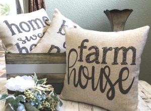 Farmhouse Pillow Monogram - Burlap Pillow - Rustic Country Decor - by Michelle