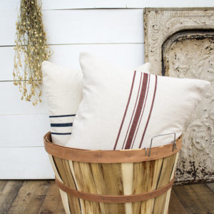 Grain sack pillows with five Stripe | farmhouse pillows, vintage farmhouse decor, shabby chic pillow covers - by Melissa
