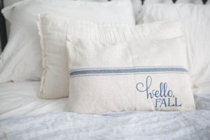 Hello Fall Grain Sack Pillow Cover, Blue stripe - by Lisa
