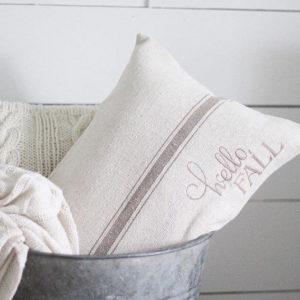 Hello Fall Grain Sack Pillow Cover - by Lisa