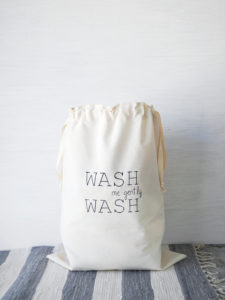 Large natural canvas laundry bag WASH Cloth storage