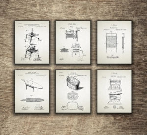 Laundry Patent Print Set of 6, Laundry Room Art