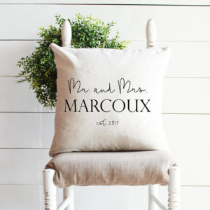MR. and MRS. WEDDING pillow - farmhouse style gift - by Melissa