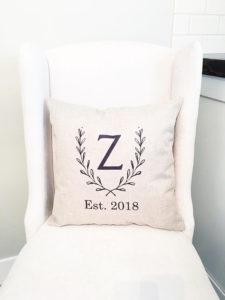 Monogram Pillow Cover - Personalized Wedding Farmhouse Decor by Whitney