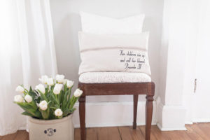 Proverbs 31 Grain Sack Pillow Cover - by Lisa
