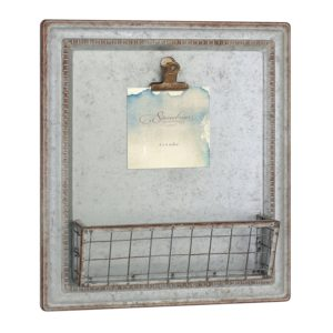 Stonebriar Rustic Galvanized Metal Magnetic Memo Board for Wall with Clip and Wire Basket