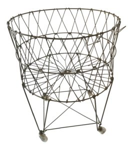 Vintage Reproduction Collapsible Rolling Metal Laundry Basket