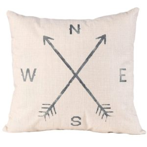 farmhouse pillow, arrows with North, East, South and West Initials