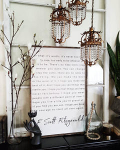 """Gorgeous Wood Sign with a Quote from F. Scott Fitzgerald """"for hat it's worth..."""""""