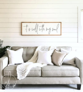 living room sign | it is well with my soul | wood sign | living room wall decor