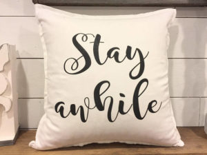 stay awhile throw pillow - by Amanda