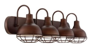 4-Light Industrial Vanity Bathroom Light, Brushed Bronze Finish - Revel Liberty