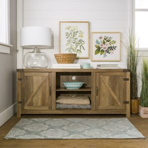 Barn Door Television Stand in Rustic Oak Finish