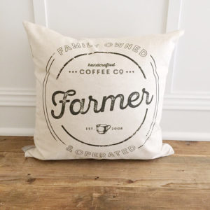 Custom Family Name Coffee Pillow Cover by Kendra