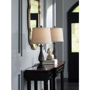 Dark Bronze Metal Table Lamp Set