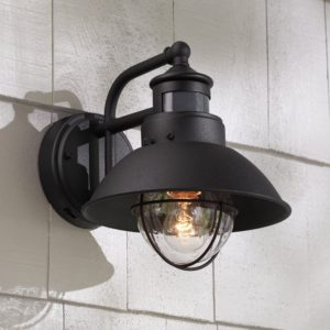 Fallbrook Black Dusk to Dawn Motion Sensor Outdoor Light