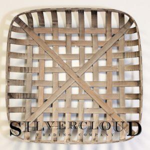 "Silvercloud Trading Co. Tobacco Basket, Farmhouse Decor, Large 25"" Square"