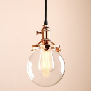 Vintage Industrial Pendant Light Fixture Round Clear Glass Globe Hand Blown Shade (Copper)