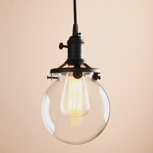 Vintage Industrial Pendant Light Fixture Round Clear Glass Globe Hand Blown Shade (black)