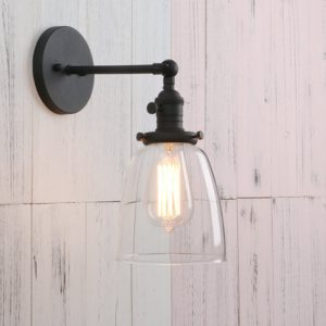 Vintage Single Sconce With Oval Cone Clear Glass Shade 1-light Wall Sconce Wall Lamp (Black) Permo