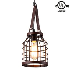 Vintage Style 1-light Bronze Pendant lights with fur Metal Shade