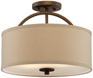 Wide Brushed Bronze Ceiling Light