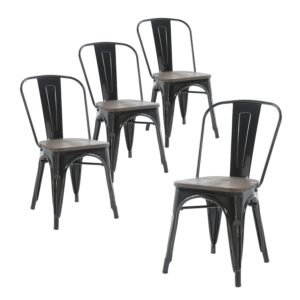 Modern farmhouse dining room chairs Buschman Set of Four Black Wooden Seat Tolix-Style Metal Indoor Outdoor Stackable Chairs with Back