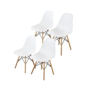 Modern farmhouse dining room chairs Buschman Set of Four White Eames-Style Mid Century Modern Dining Room Wooden Legs