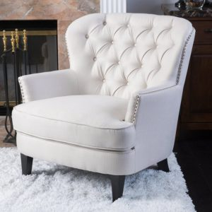 comfortable farmhouse armchair - Button-Tufted Fabric Club Chair with Studded Accents | in Ivory Amazon