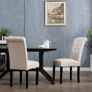 Modern farmhouse dining room chairs DAGONHIL Stylish Parsons Dining Room Chairs (set of 2)with Solid Wood Legs (Beige)