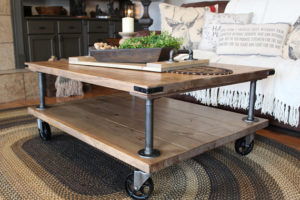 Farmhouse Industrial Coffee Table, Industrial Iron and Wood Coffee Table, Table with vintage Casters - etsy