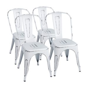Modern farmhouse dining room chairs Furmax Metal Chairs Distressed Style Dream White Indoor Outdoor Use Stackable Chic Dining Bistro Cafe Side Chairs
