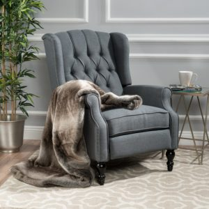 comfortable farmhouse armchair - GDF Studio Elizabeth Tufted Charcoal Fabric Recliner Arm Chair via Amazon
