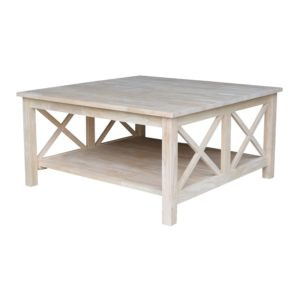 rustic farmhouse coffee table - Hampton Square Coffee Table Unfinished - Amazon