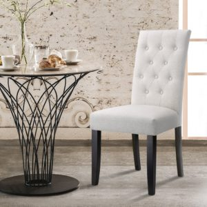 Modern farmhouse dining room chairs LANGRIA Button Tufted High Back Dining Chair Modern Faux Linen Upholstered with Diamond Stitching, Arched Backrest Armless Design Comfortable Padded Cushion