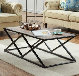 rustic farmhouse coffee table - O&K Furniture Industrial Coffee Table for Living Room, Modern Cocktail Table With X Metal Legs, Vintage Brown